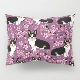 Welsh corgi tricolored cherry blossoms botanical florals japanese flowers dog breed corgis Pillow Sham