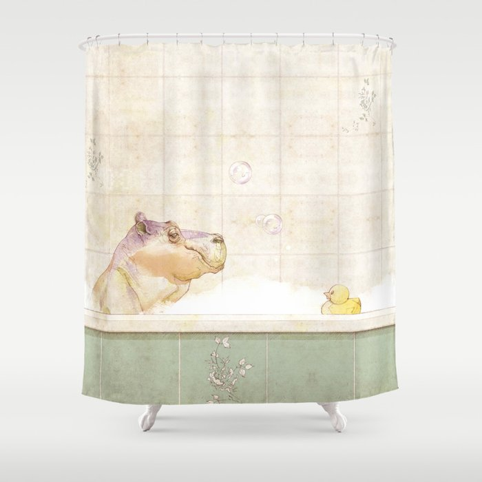 Hippo in the bath Shower Curtain by valentinamalgarise | Society6