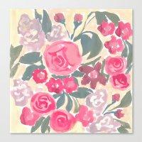 Cream Floral Canvas Print