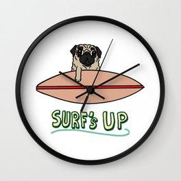 Surf's Up Pug Wall Clock