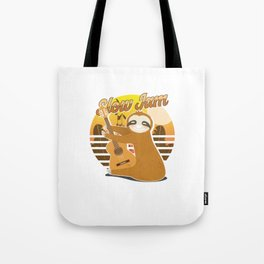 Slow Jams Funny Sloth Guitar Wildlife Animals Forest Nature Zoo Wilderness Animalia Gift Tote Bag