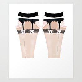 Lingeramas - Sexy Pink and Black Lingerie Legging Pajamas Art Print