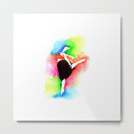 Ballerina Watercolor Art | Dancer Stencil Art Metal Print