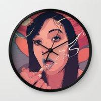 queen Wall Clocks featuring Moth Queen by Conrado Salinas