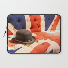 Black Bowler Hat on Union Jack Chesterfield Sofa Laptop Sleeve