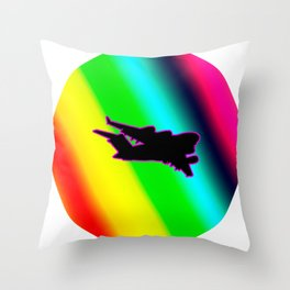 C-130 Rainbow Cirlce Throw Pillow
