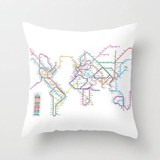 World Metro Subway Map Throw Pillow