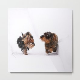Dogs Running Race On Snow #decor #society6 #buyart Metal Print