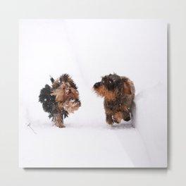 Dogs Running Race On Snow #decor #society6 #buyart Metal Print