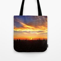 "volleyball Tote Bags featuring Hermosa Beach ""Volleyball"" by Arturo Garcia"