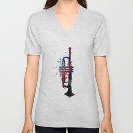 trumpet art #trumpet #music Unisex V-Neck