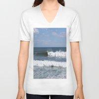surfer V-neck T-shirts featuring Surfer by moonstarsunnj