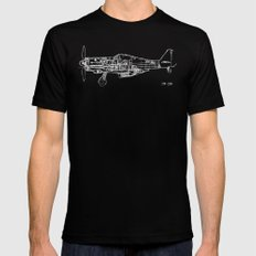 FW - 190 ( B & W) Black MEDIUM Mens Fitted Tee
