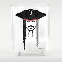 jack sparrow Shower Curtains featuring Iconic Sparrow by Arne AKA Ratscape