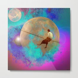 tightrope walker in Space Metal Print