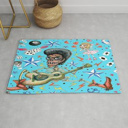 rockabilly bone daddy crush, blue turquoise aqua Rug