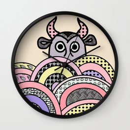 bull on pastel background Wall Clock