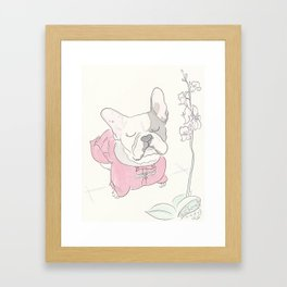 Sweet Frenchie French Bulldog Orchid Love Framed Art Print