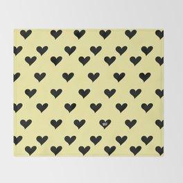 Retro Hearts Pattern Pastel Yellow Throw Blanket
