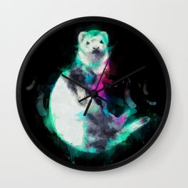 Painted Ferret Wall Clock