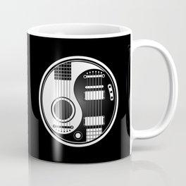 White and Black Acoustic Electric Yin Yang Guitars Coffee Mug