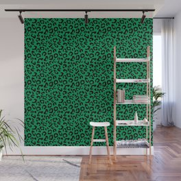 Leopard Print Black on Green Wall Mural