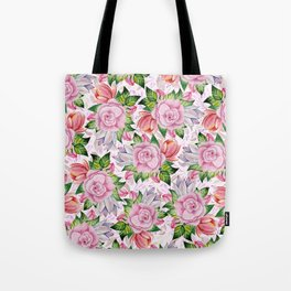Watercolor pink lavender colorful hand painted roses flowers Tote Bag