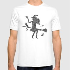 Halloween Witch  White SMALL Mens Fitted Tee