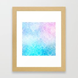 Geometric White Pattern on Watercolor Background Framed Art Print