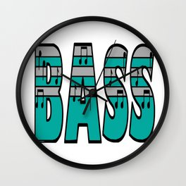 Turquoise and Silver Bass Font Wall Clock