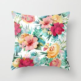 Bright and Bold Flowers Throw Pillow
