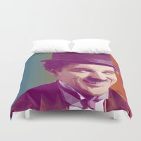 chaplin Duvet Covers featuring Charles Chaplin Low Poly Collection by Giselle LowPoly