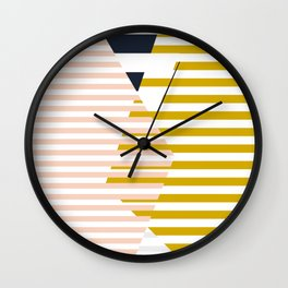 bauhaus - abstract mikado - mustard and blushpink Wall Clock