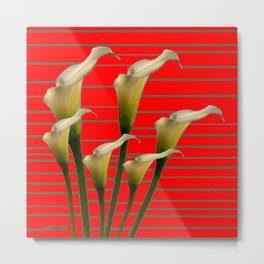 Chinese Red Striped Calla Lily Art Metal Print