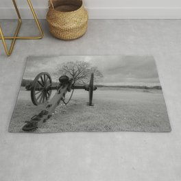 Chancellorsville Cannon Civil War Battlefield Virginia Black and White Photography  Rug