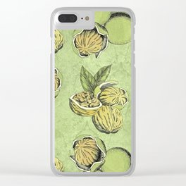 Walnuts Faded Lime Color Clear iPhone Case