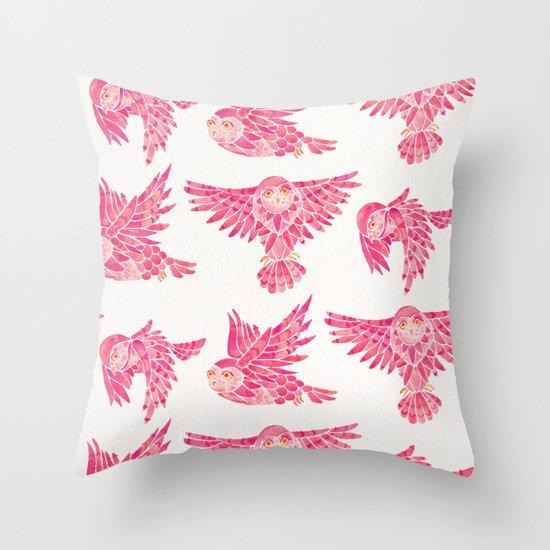 Owls in Flight – Pink Palette by catcoq