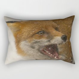 Wild Red Fox In The Snow Rectangular Pillow