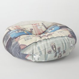Vintage Suitcases Floor Pillow