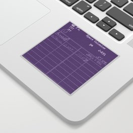 Library Card 797 Negative Purple Sticker