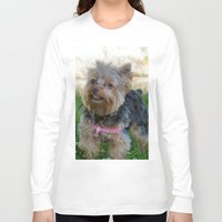 yorkie Long Sleeve T-shirts featuring Little Yorkie by IowaShots