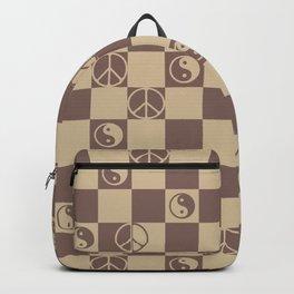 Checkered Peace Symbol & Yin Yang (Cocoa Mocha Colors) Backpack