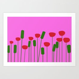 Poppies in pink Art Print