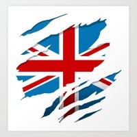 british flag Art Prints featuring British Flag Pride by northside