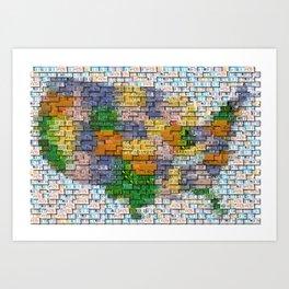 USA United States Map License Plate Mosaic Art Print