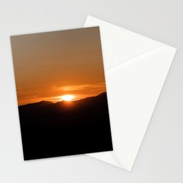 Orange sunrise on black mountains Stationery Cards