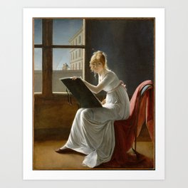 Young Woman Drawing - Marie Denise Villers Art Print