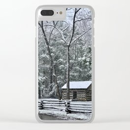 Snowy Cabin in the Smokey Mountains Clear iPhone Case