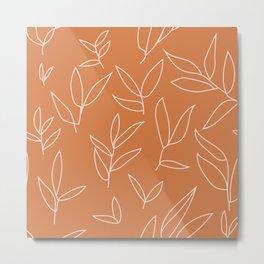 floral leaves grid pattern 1 Metal Print