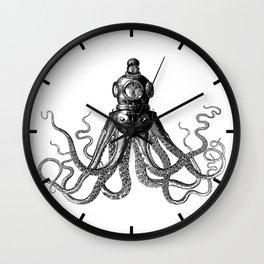 Octopus in Diving Helmet | Deep Sea Divers Helmet | Vintage Octopus | Tentacles | Black and White | Wall Clock